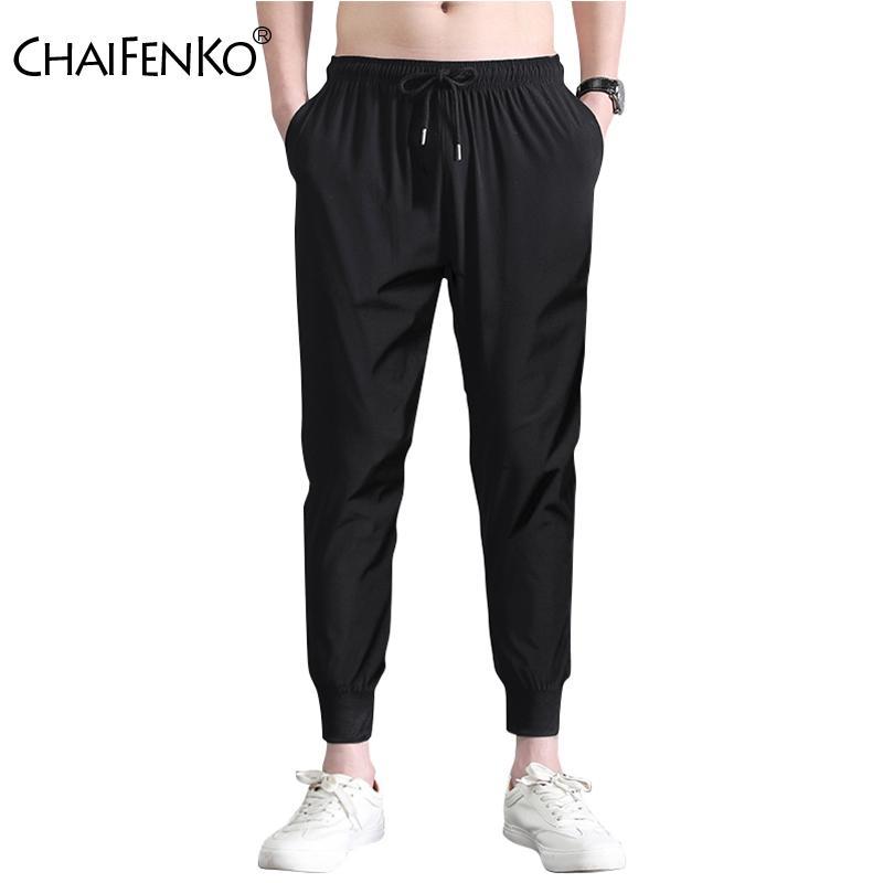 Ice Silk Pants Casual CHAIFENKO 2020 Hot Summer Nova de homens soltos Feixe Pés nove pontos Calças Men-coreano moda esportiva Calças