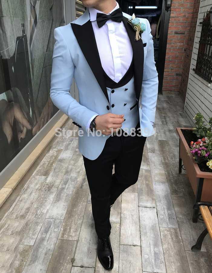 의상 옴므 MARIAGE 2019 더블 브레스트 조끼 정장 스카이 블루 웨딩 신랑 턱시도 남성용 정장 댄스 파티 들러리 재킷 3 조각