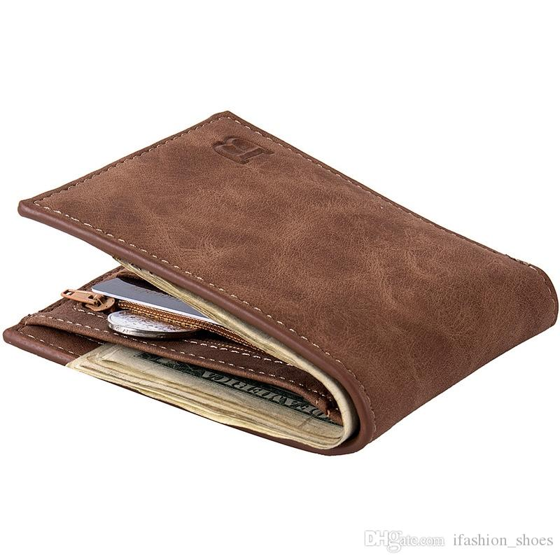 Fashion 2018 Men Wallets Mens Wallet with Coin Bag Zipper Small Money Purses New Design Dollar Slim Purse Money Clip Wallet #302729