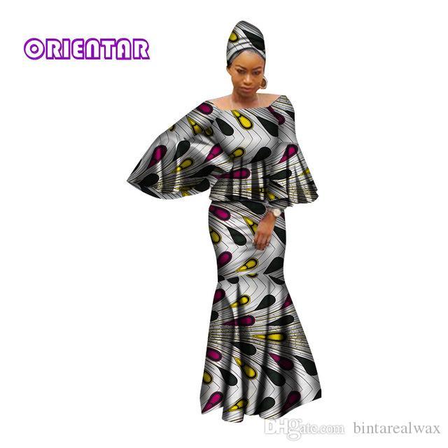 Vestidos africanos para as mulheres 100% algodão 2019 nova moda africano kanga clohing baeta riche 2 peças set roupas africano WY2809
