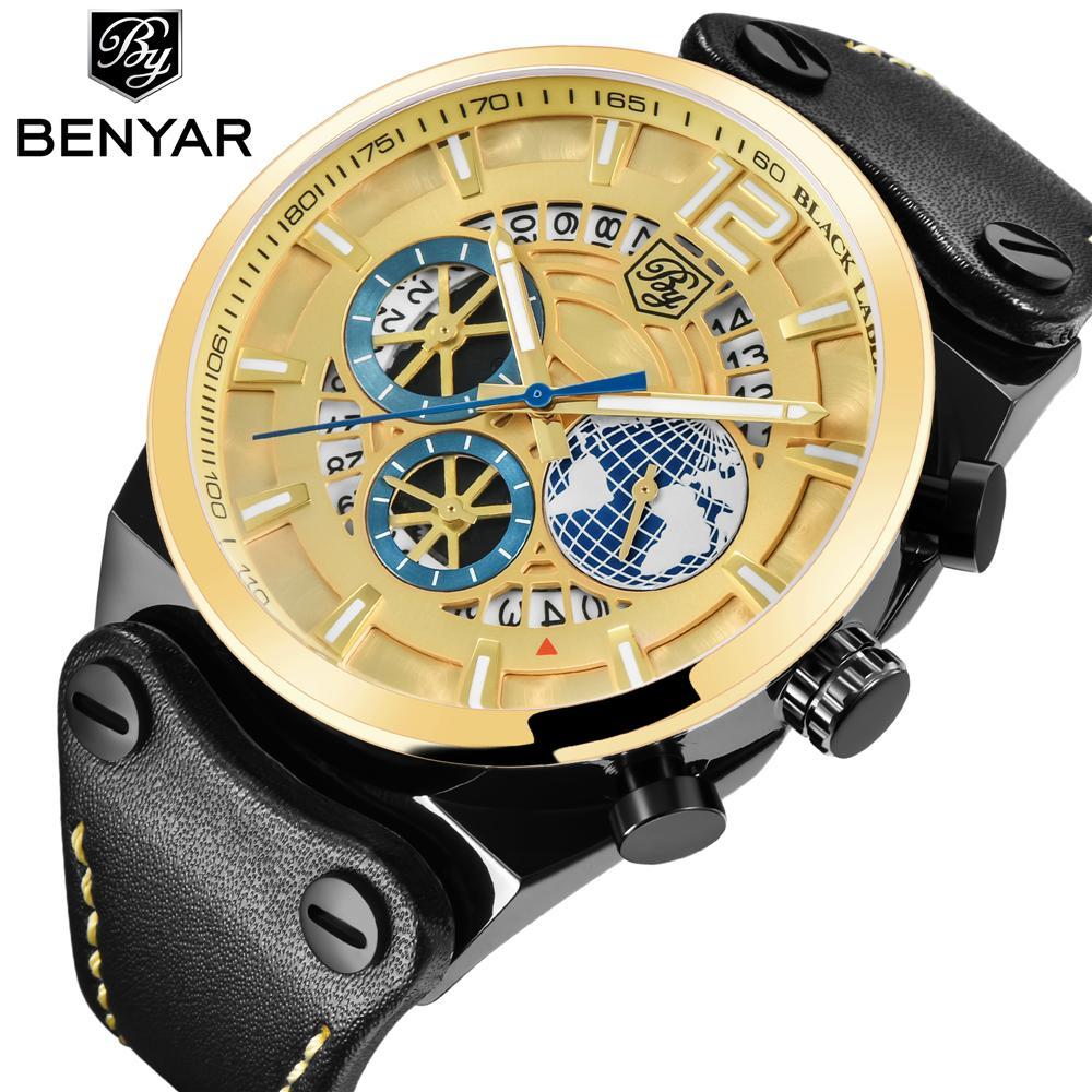 BENYAR Marca de lujo del deporte del cronógrafo para hombre de los relojes de manera militar a prueba de agua reloj de cuarzo Reloj Masculino Relógio Dropshipping