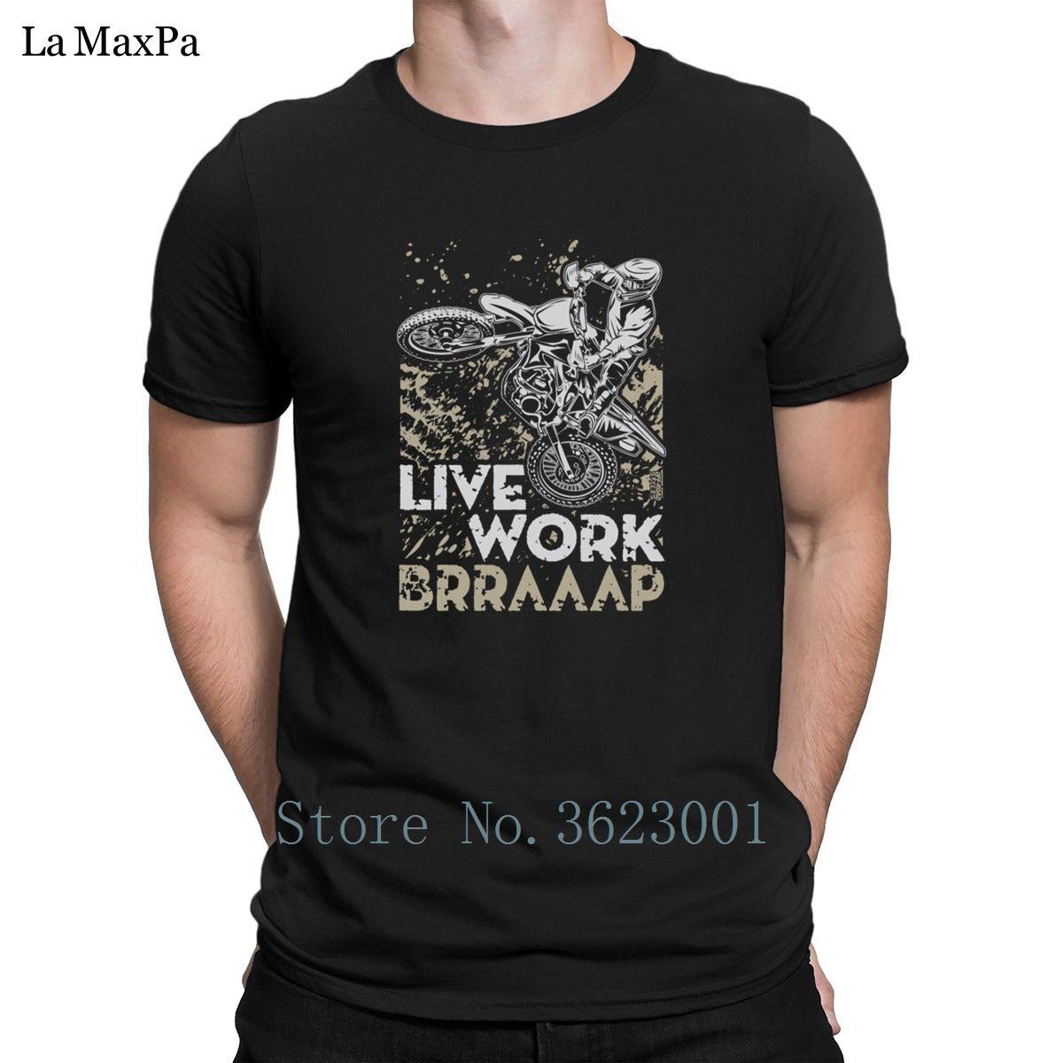 Novedad divertida camiseta para el collar de hombres Streetwear motocrós Vivo trabajo camiseta hombre inteligente Gran camiseta redonda Camiseta barato Venta