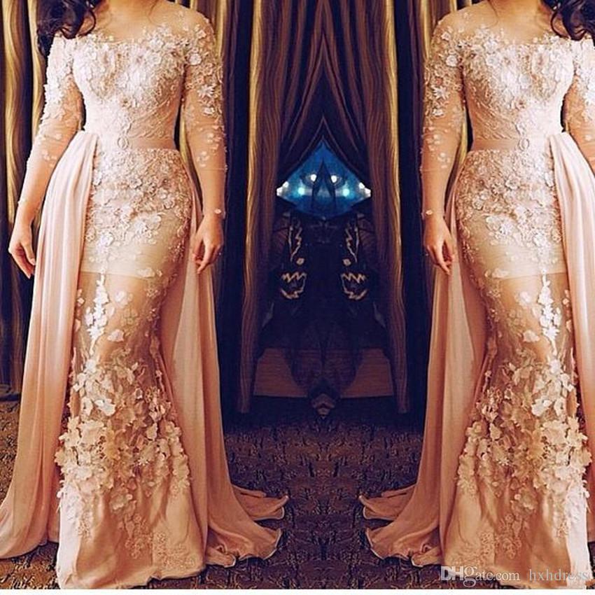 Plus Size Appliqued formale puro Abiti da sera Mermaid gioiello collo da sera abito da lunghi abiti maniche treno con staccabile 3986