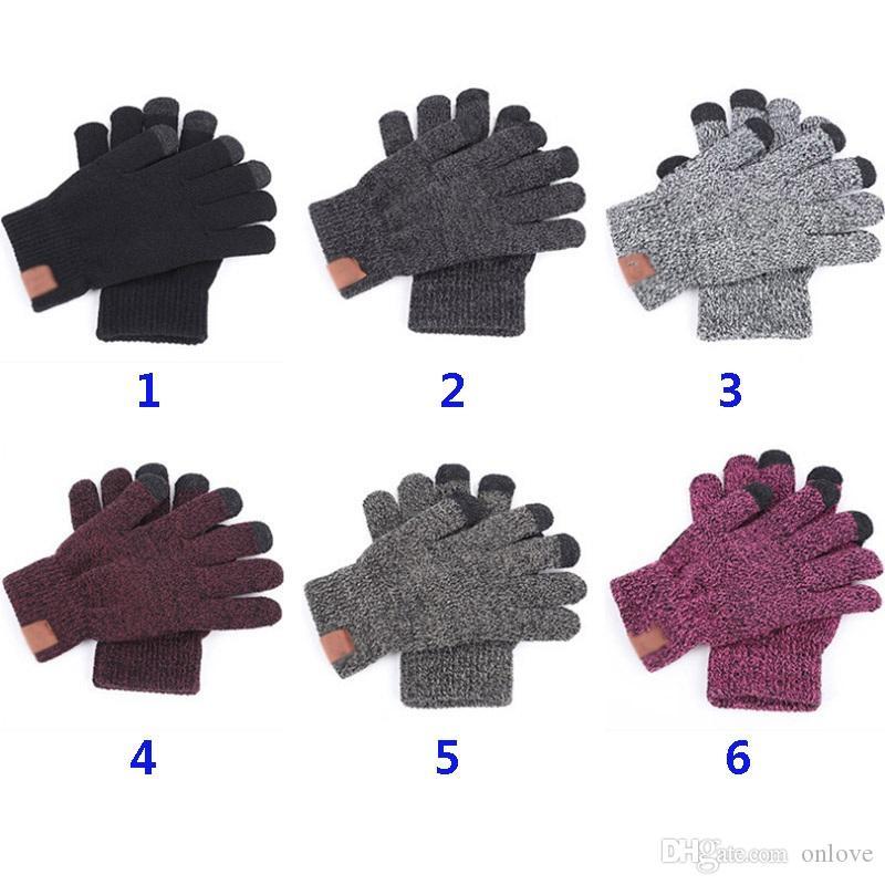Örme Eldiven Katı Kış Kadın Erkek Örgü Dokunmatik Ekran Parmak Eldiven Açık Spor Beş Parmak Eldiven Noel Partisi Favor XD19940