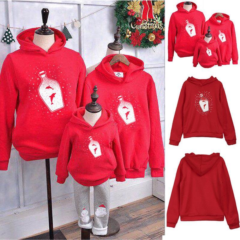 Brand New di Natale scherza il papà della mamma con cappuccio Pullover Felpa Jumper Famiglia parte superiore di corrispondenza