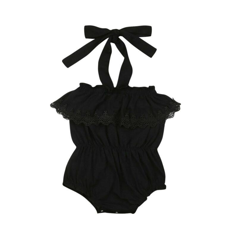 소녀 블랙 장난 꾸러기 레이스 슬링 고삐 몸은 여름 한 조각 바디 수트 점프 슈트 유아 여자 아기 의류 최고 Sunsuit 복장을 정장