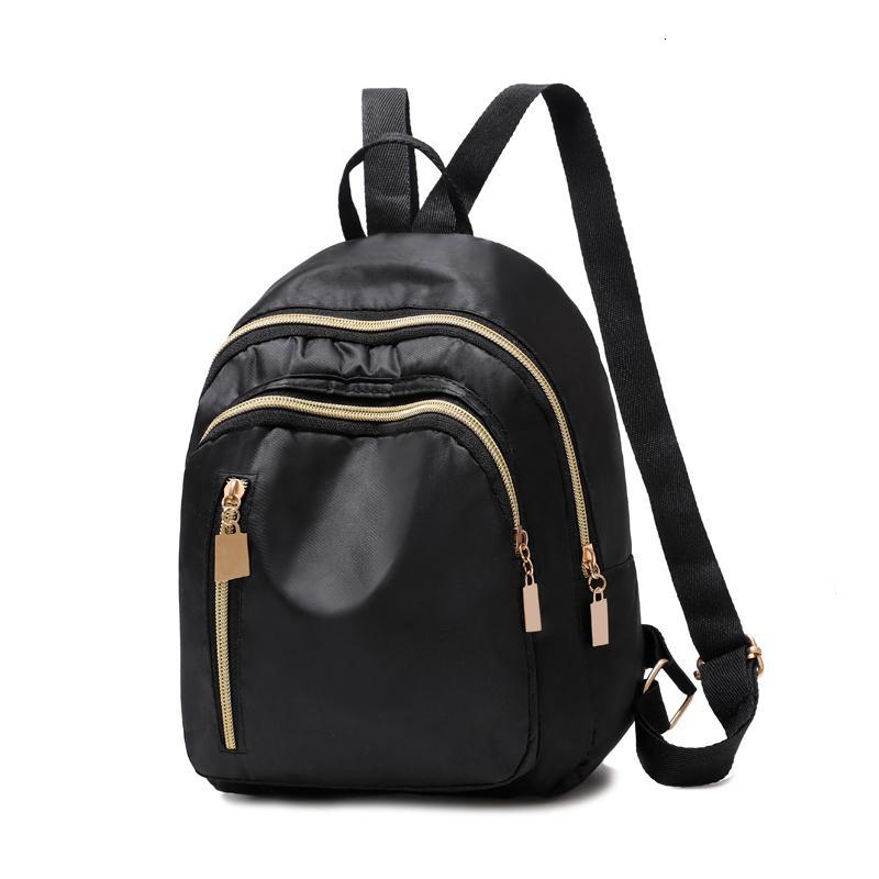 Einfache Drei Zipper Solide Frauen Black Nylon wasserdichter Rucksack-Kursteilnehmer Kinder S Leichte Durable Schultasche Bookbag Ba0180