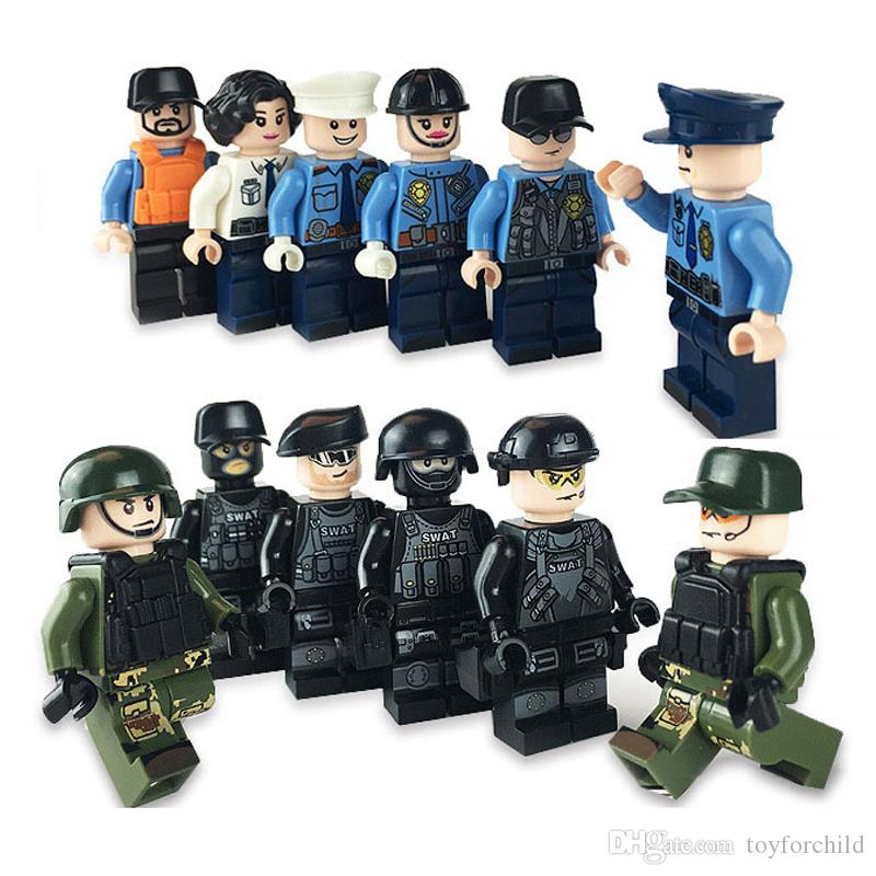 12pcs Assault Storm SWAT Special Weapons And Tactics Armed Police Force Special Force Mini Toy Figure Building Block With Weapon Bag
