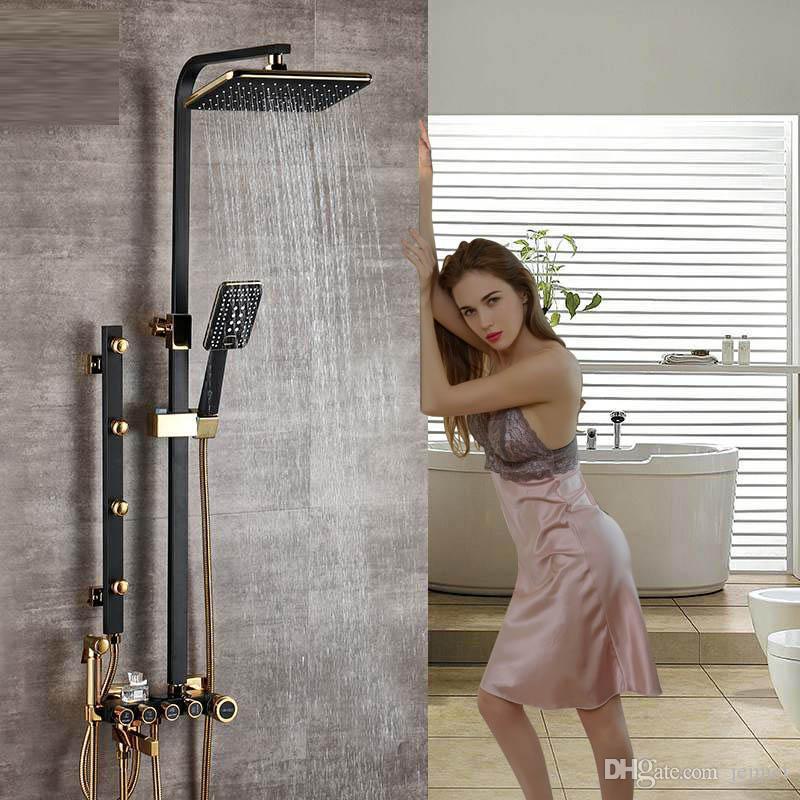Schwarz Golden Shower Wasserhahn Sets Höhenverstellbare Massage Jet Brausen Duschkopf Niederschläge Messing Bidet Brausekopf Badewanne