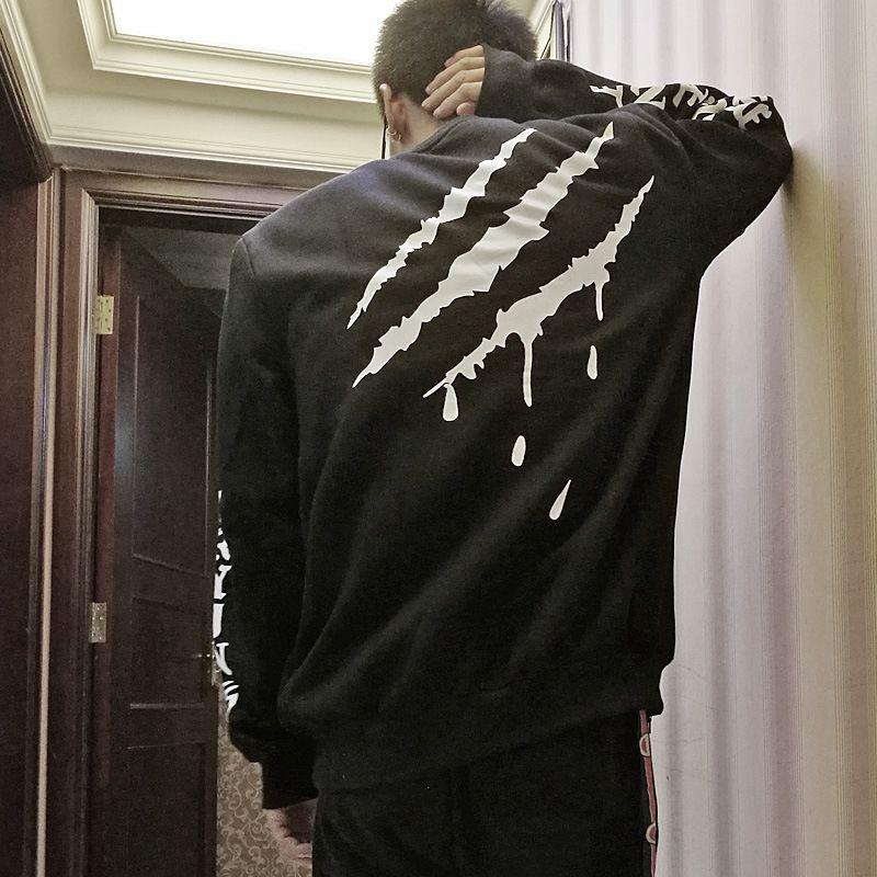 997JM Moda kış sonbahar ve yeni kalça erkek Ulusal kazak tarzı ulusal moda hop aynı stil Hayalet pençe karalama kazak yıldız