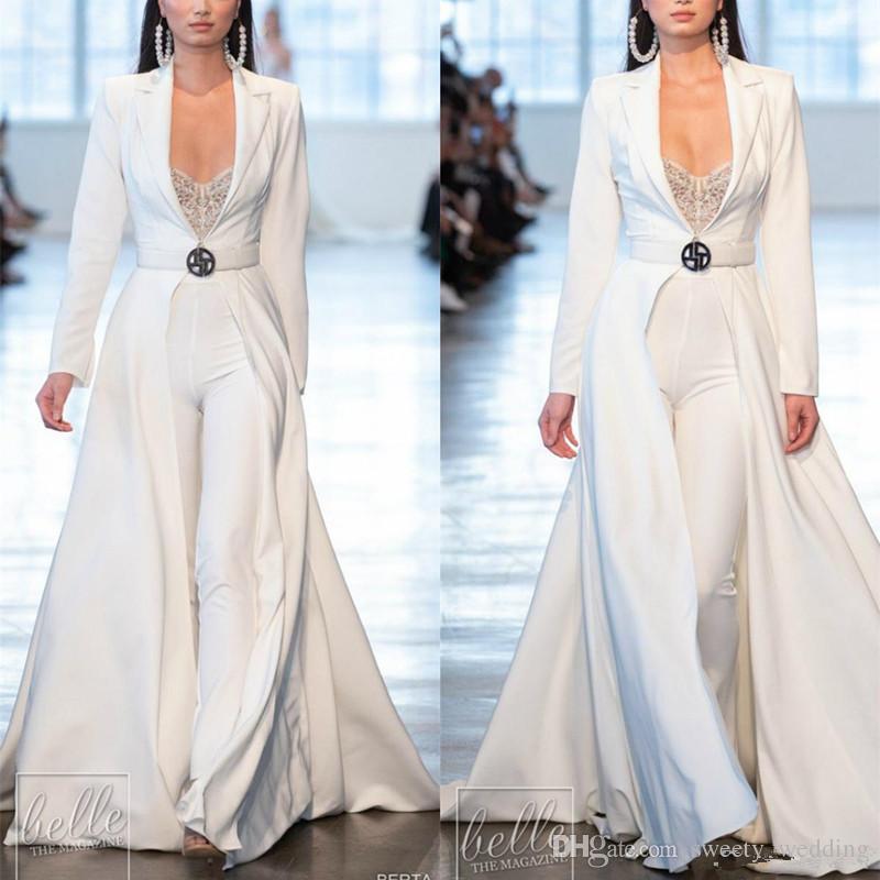 Berta 2019 White Prom Dresses Jumpsuits Long Sleeve Satin With Long Jackets Evening Gowns Plus Size robes de soirée Pants Suits Party Dress