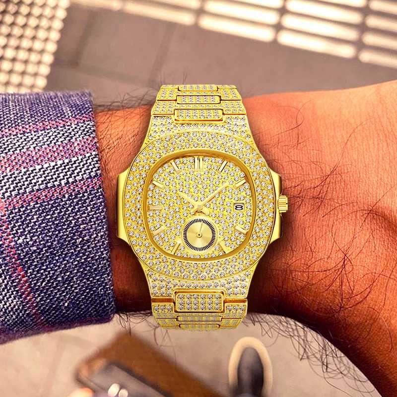 Relogio Masculino MISSFOX relojes Hombres 2019 Tapa de oro los hombres del cronógrafo relojes de oro masculino grande Reloj de pulsera hombre