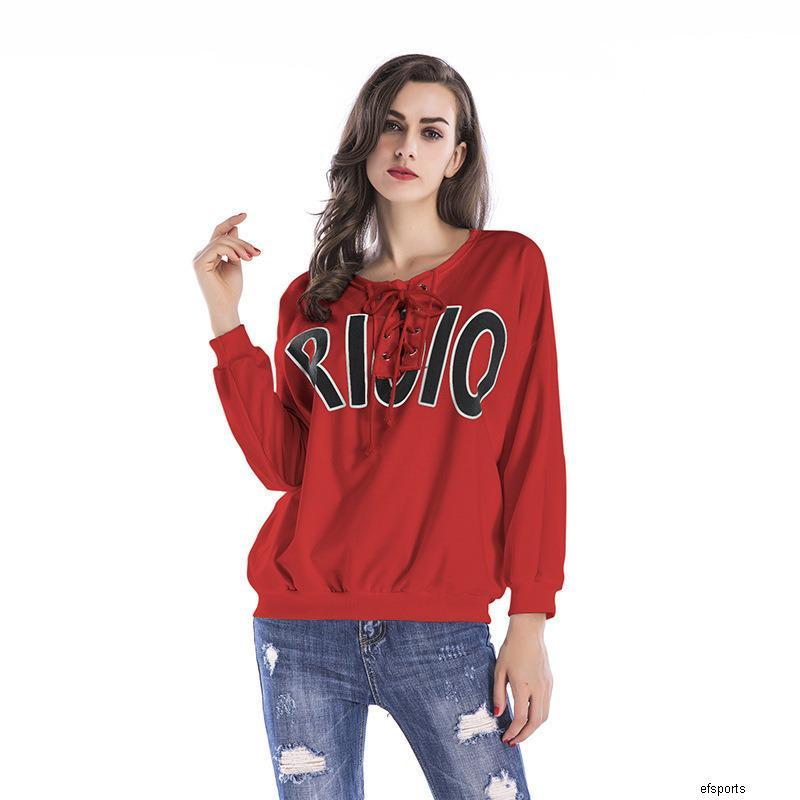 женские дизайнерские свободные Письмо печати свитер круглый вырез пуловер сезонная куртка WomenBMN1H