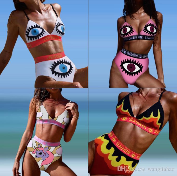2019 Yaz Yeni Varış Rahat Plaj 2 parça Kadınlar Set Renk Mektubu Baskı Bikini Straplez Kısa Pantolon Bikini Suits Setleri