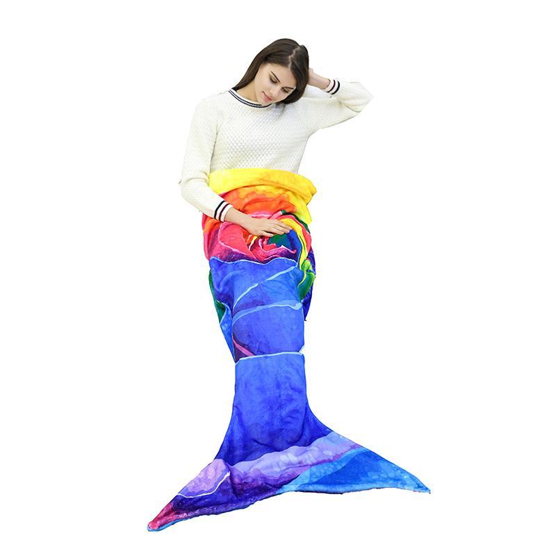 Lannidaa Cartoon Beauty Colorful Mermaid Blanket Fish Tail Coral Fleece Wearable Blanket For Adults Soft Sofa Bed Throw