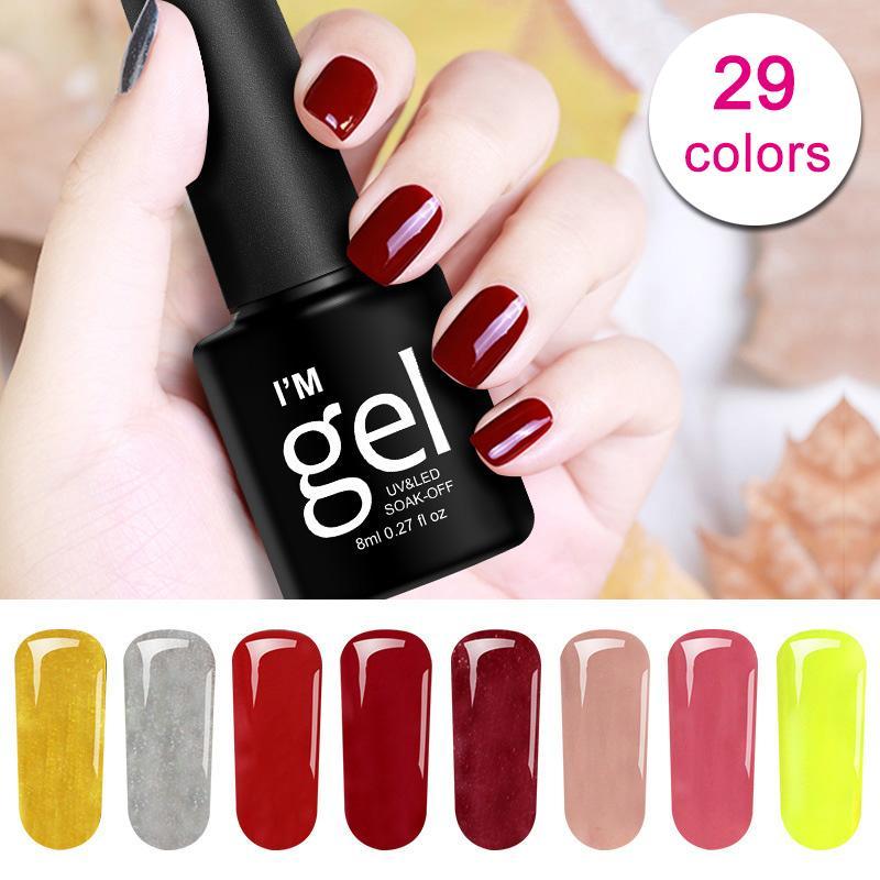 Hot Sale 8ml 1 Bottle Gorgeous UV Gel Nail Polish Long Lasting Gel Varnish Nails Art Decoration for Manicure lacquer JLRS18