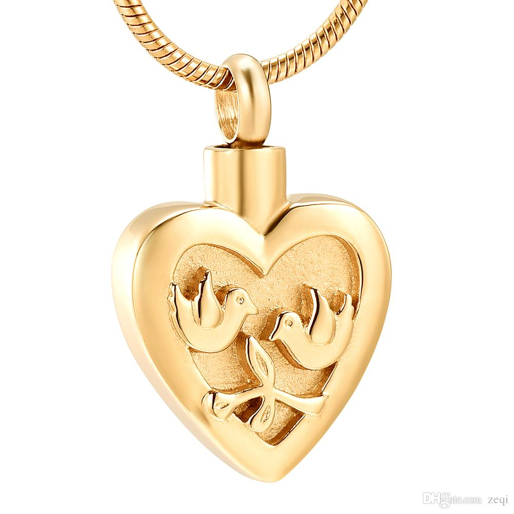 LKJ12441 Heart Engraved Double Bird Cremation Jewelry for Ashes Pendant Holder Urns Pet Stainless Steel Unisex Memorial Necklace