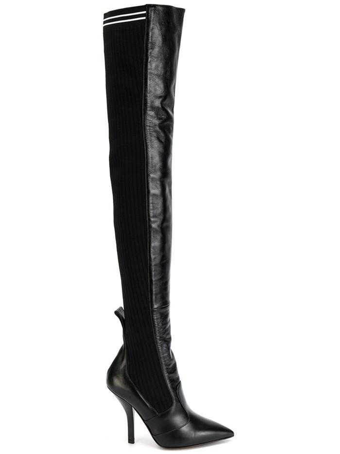 Sonbahar Kış Moda Kadın Kırmızı Siyah Deri Diz Üzerinde Uzun Çizmeler Seksi Patchwork Ince Yüksek Topuklu Sivri Burun Stilettos Parti Ayakkabı Kadın