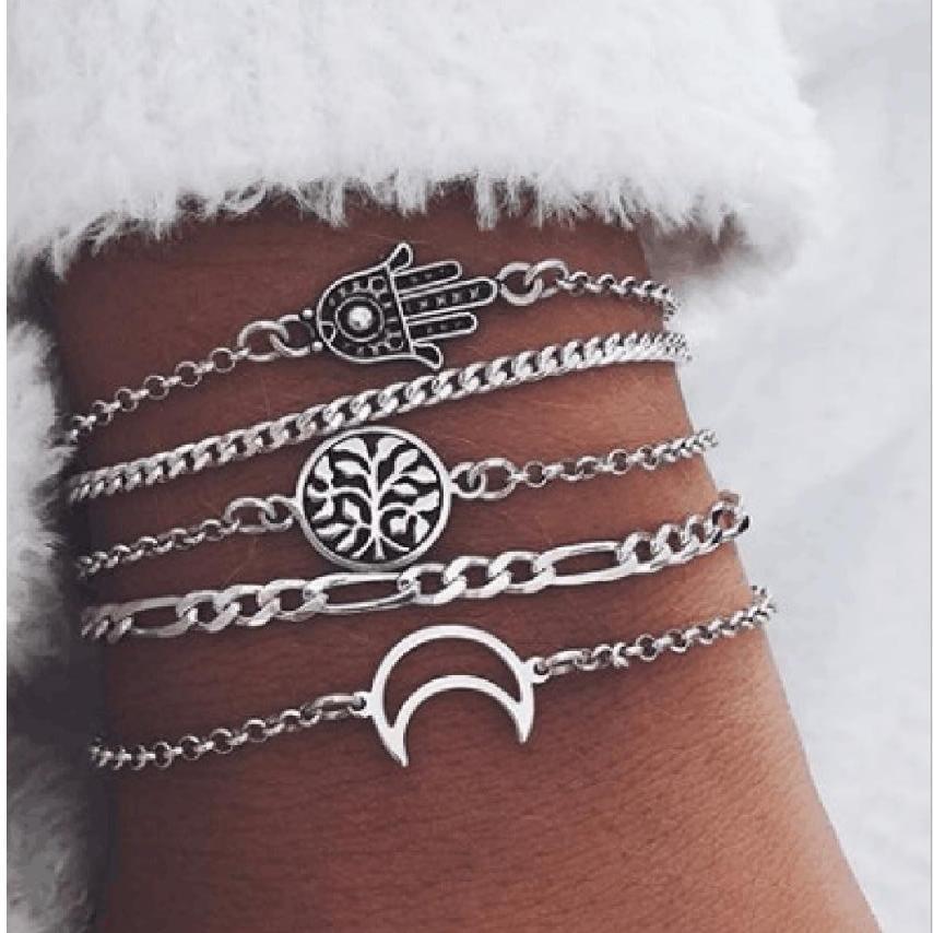 Gioielli braccialetto cavigliera fissa 5pcs / colore impostato a mano Albero Foglia Luna in argento fascino catena di metallo placcato