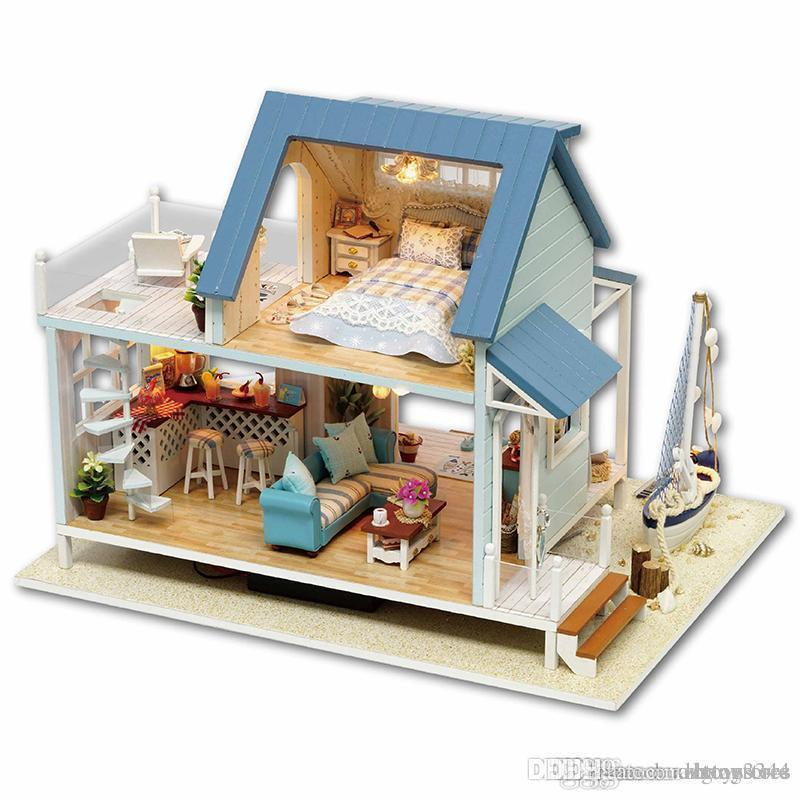 New DIY Miniature Wooden Dollhouse Chinese House Model Kits Handcrafted Toy Gift