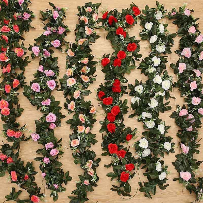 1PC 2.3M 11Heads falsi seta Roses Ivy vite fiori artificiali con foglie verdi per casa Wedding decorazione appesa Garland Decor