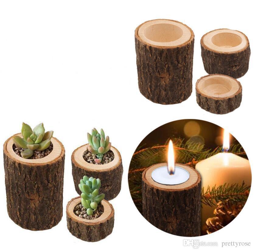 Manual de madeira Castiçal Pillar Titular Design Vela estande de plantas Vaso de Flor ornamentos de madeira para Home Casamentos Bar férias Decoração
