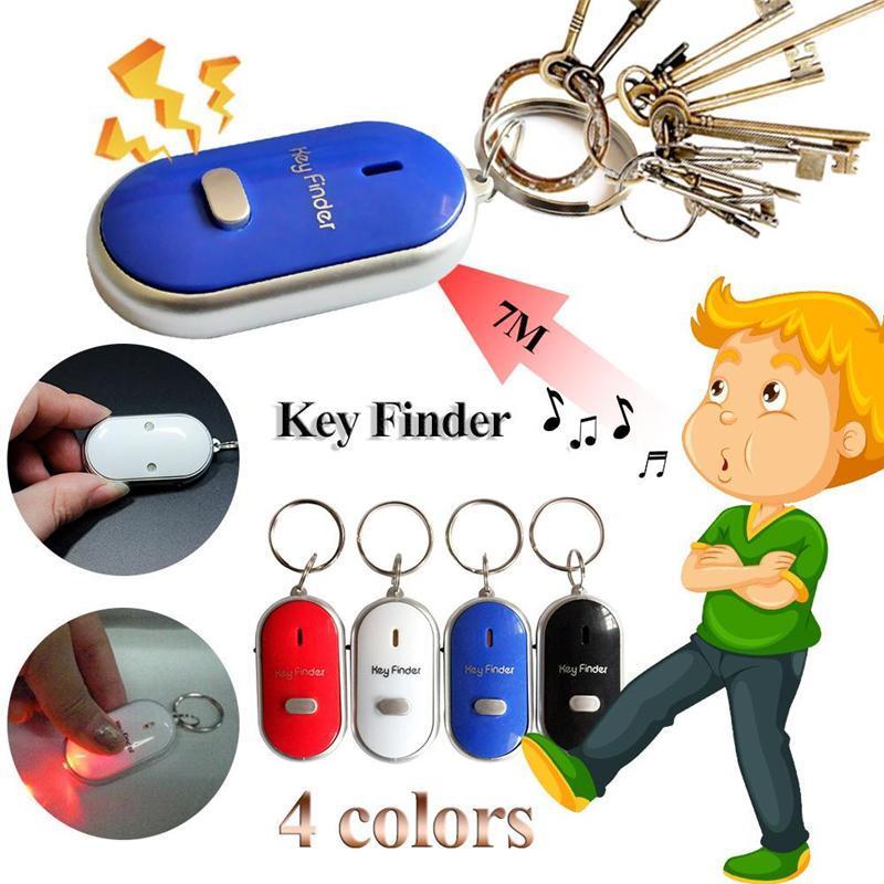 Einfache Sound Control Locator verlor Schlüsselsucher mit blinkender LED-Licht Schlüsselanhänger Schlüsselbund Schlüssel Finding Whistle Sound Control Geschenke JXW535