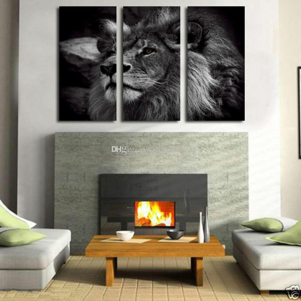 Black and White Lion King Hand Painted Art On Canvas Oil Painting Modern Huge Wall Art Picture Home Decor Gifts