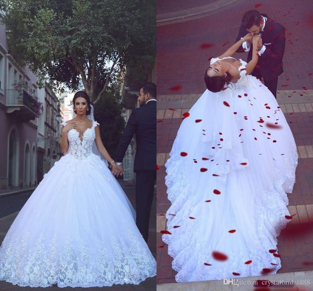 New Sexy Árabe vestido de Baile Vestidos de Casamento Querida Lace 3D Floral Apliques Frisado Tribunal Trem Inchado Tule Plus Size Formal Vestidos De Noiva