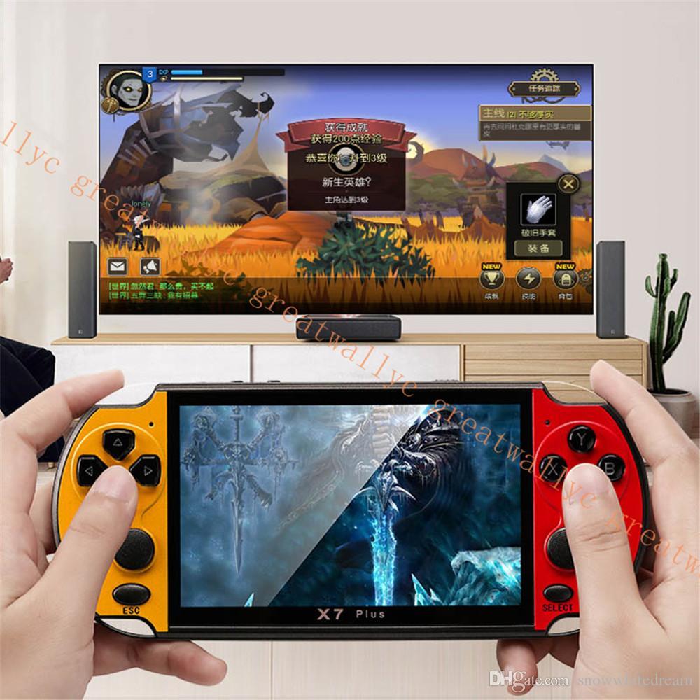 5.1inch의 X7 PLUS 핸드 헬드 게임 플레이어 더블 로커 8기가바이트 메모리 32/64/128 비트 1000 개 게임 MP5 비디오 게임 콘솔