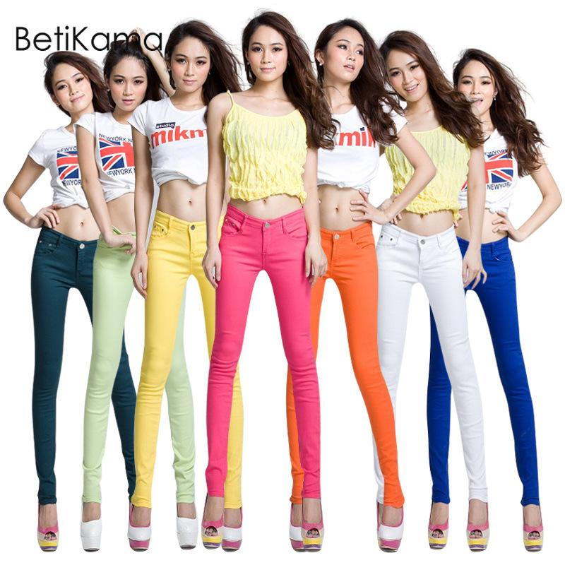 Beikama nuovo 2019 estate sottile denim caramella color pantaloni da donna jeans magro jeans a vita bassa donna push up jeans pantaloni a matita femme