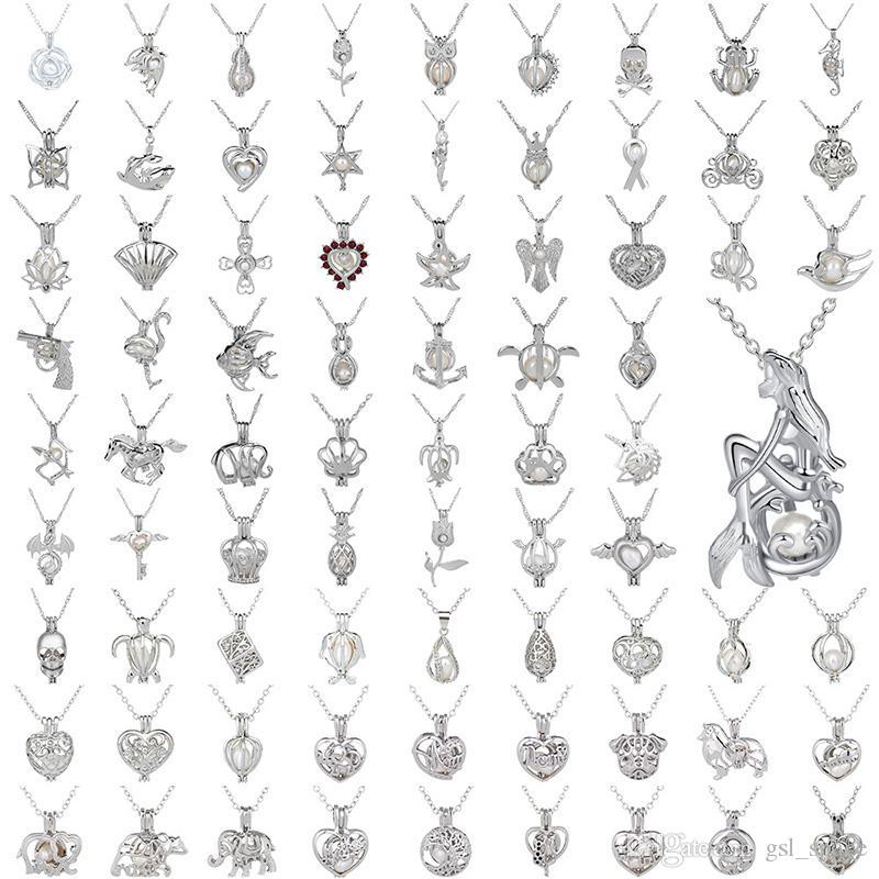 Perle Käfig Anhänger Halskette Liebe Wunsch Natürliche Perle Mit Austernperlen Mix Design Mode Hohl Medaillon Schlüsselbein Kette Diffusor Halskette