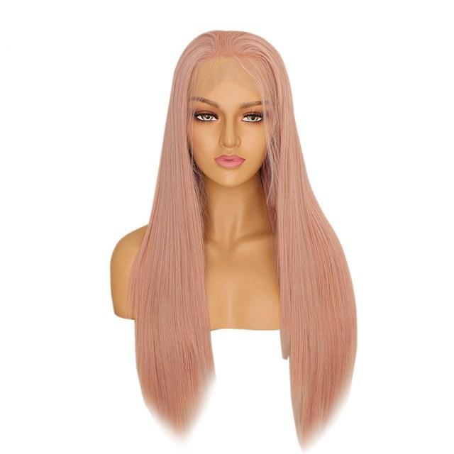 Rose Rosa longa reta sintética peruca dianteira do laço Natural da linha fina macia perucas para mulheres resistente ao calor Glueless peruca completa com cabelo do bebê