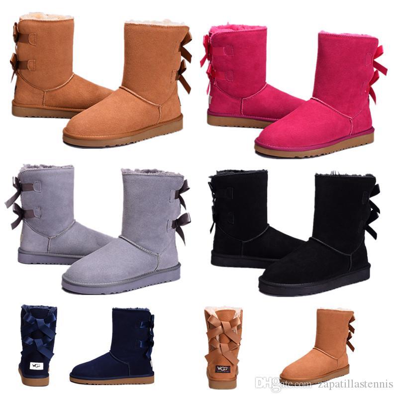 Venta al por mayor de Australia WGG mujeres altas clásicas botas mujer botas de niña de arranque de nieve botas de invierno azul fucsia negro rojo zapatos de cuero del envío gratis