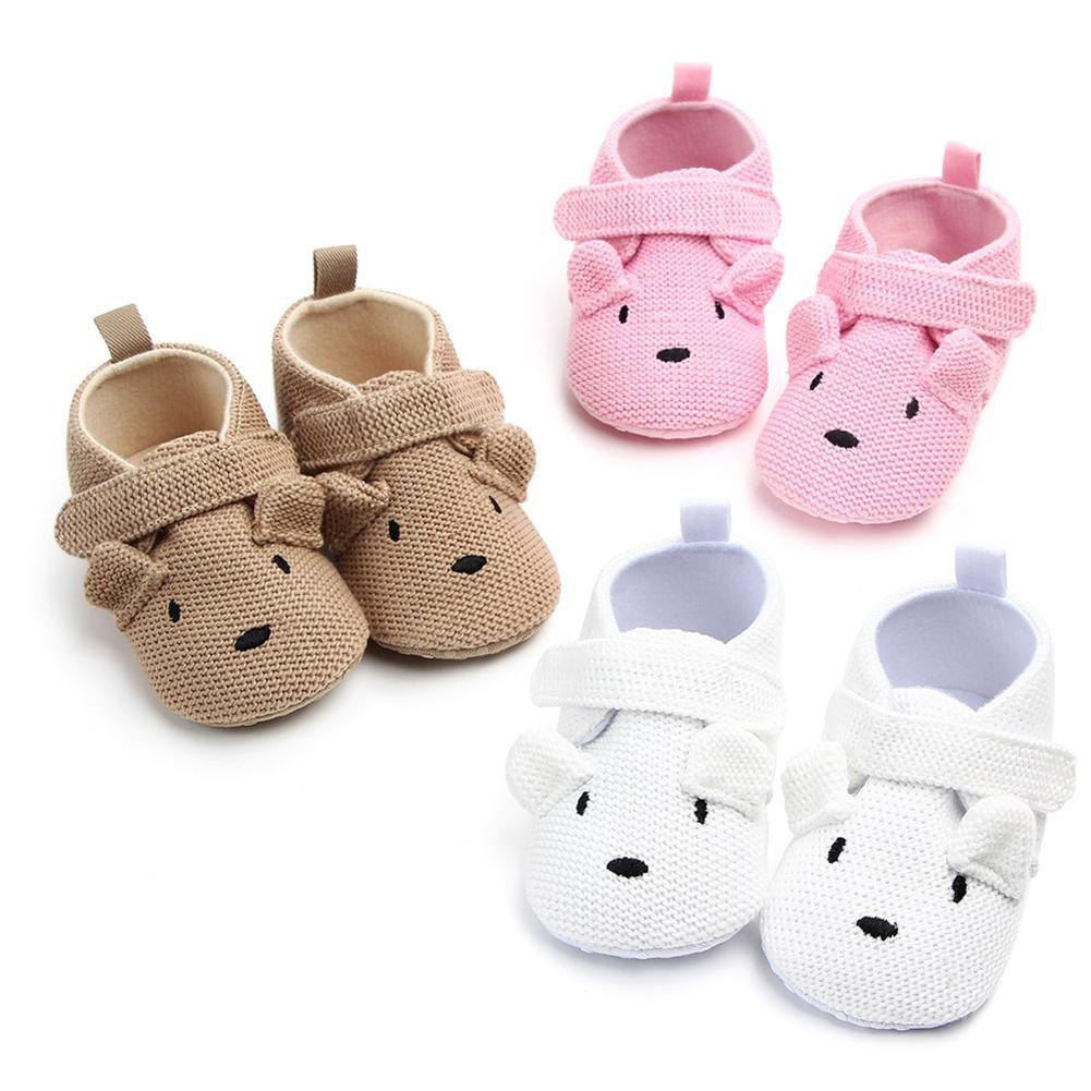 İlkbahar Sonbahar Sevimli Ayı Örme Yenidoğan Bebek Kız Erkek Kaymaz Sıcak Sole Sneakers Prewalker düz ayakkabı Ayakkabı