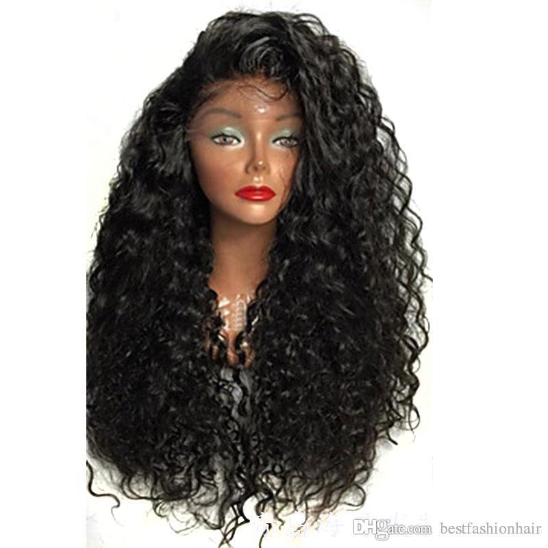 رخيصة الرباط الباروكات مع شعر الطفل 180 الكثافة اسود طويل فضفاض موجة المياه مجعد الاصطناعية الرباط الجبهة الباروكة الحرارة الألياف مقاومة للنساء