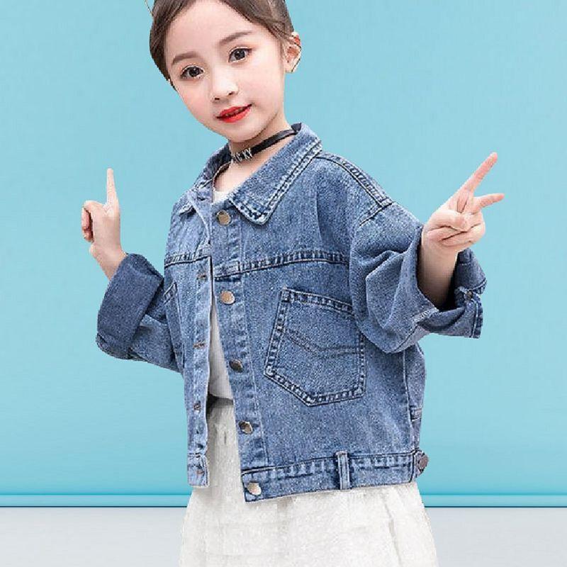 2020 Мода Новая Джинсовая Куртка Для Девочек Дети Повседневная Свободная Карманная Джинсовая Куртка Девушки С Длинным Рукавом Джинсовая Куртка Детская Одежда A26