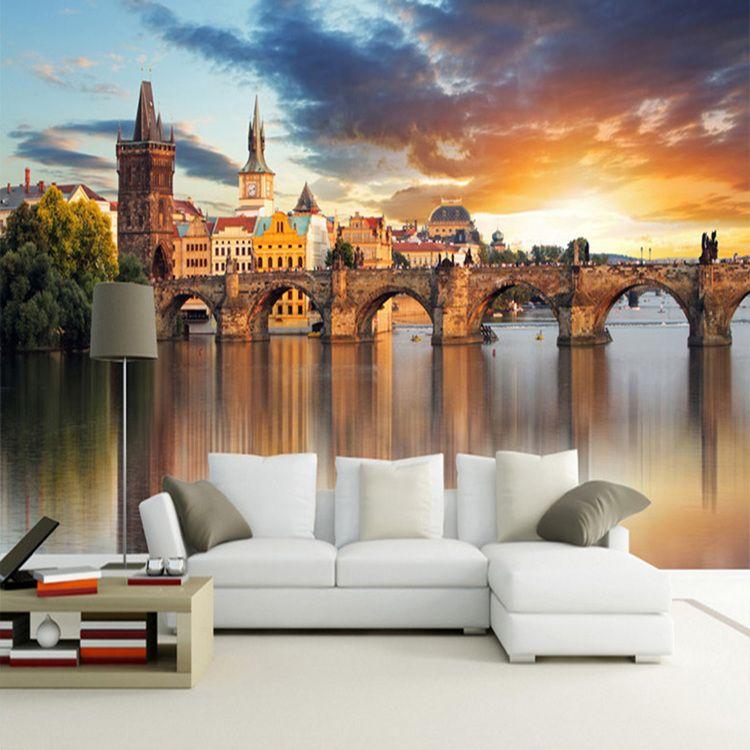 Фото обои Красивая Европейская Архитектура Закат Пейзаж 3D Наклейка Гостиной Фон Настенная Живопись Papel Mural 3D