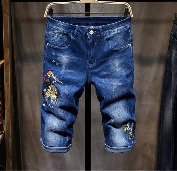 Мужские Джинсовые Шорты Горячие Продажи Мода Промывают Вышивка Значок Прямые Модные Джинсы Азиатский Размер Бесплатная Доставка