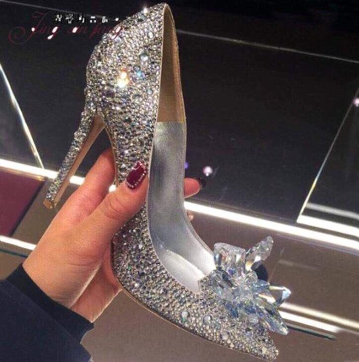 Направленные вечеринки на насос Cinderella вечерние горный хрусталь насосы платье ступеньки сладкие высокие каблуки женщины мода Bling Lady Wedding Shoes ISPBK