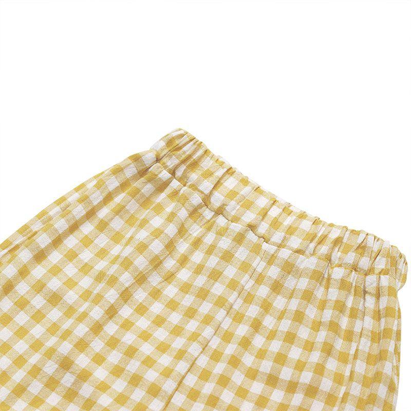 BINIDUCKLING Причинная Soft Summer Мальчика Девочки Пижамы Набор Plaid Pattern хлопка малышей Kids Детская пижама Набор с коротким рукавом