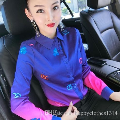 Botão de luxo pista de decolagem Sexy Magro de cetim de seda camisas de manga longa Mulheres lapela Impresso Neck Ladies Blusa Plus Size Escritório Designer shirt Tops