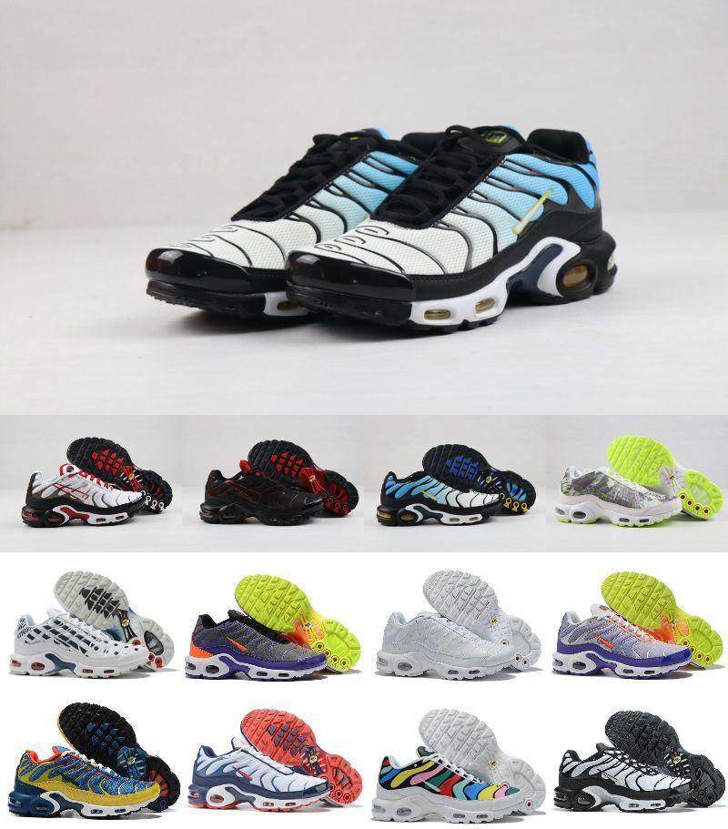 Designs 2020 Original Tn Plus Sunburst Mens Running Shoes Cheap Black White Breathable Mesh Chaussures Mercurial Air Tn Se Sport Sneakers