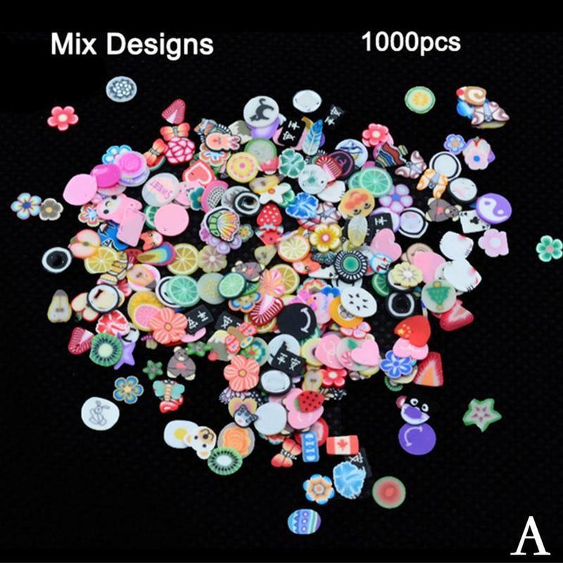 1000pcs 3d fruits animaux tranche l'argile bricolage nail art conseils décoration autocollant