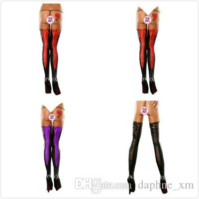 pantalon bandage soie sexy chaud femme noire leggings mode érotique pantalon en cuir serré haute collants rouge élastique