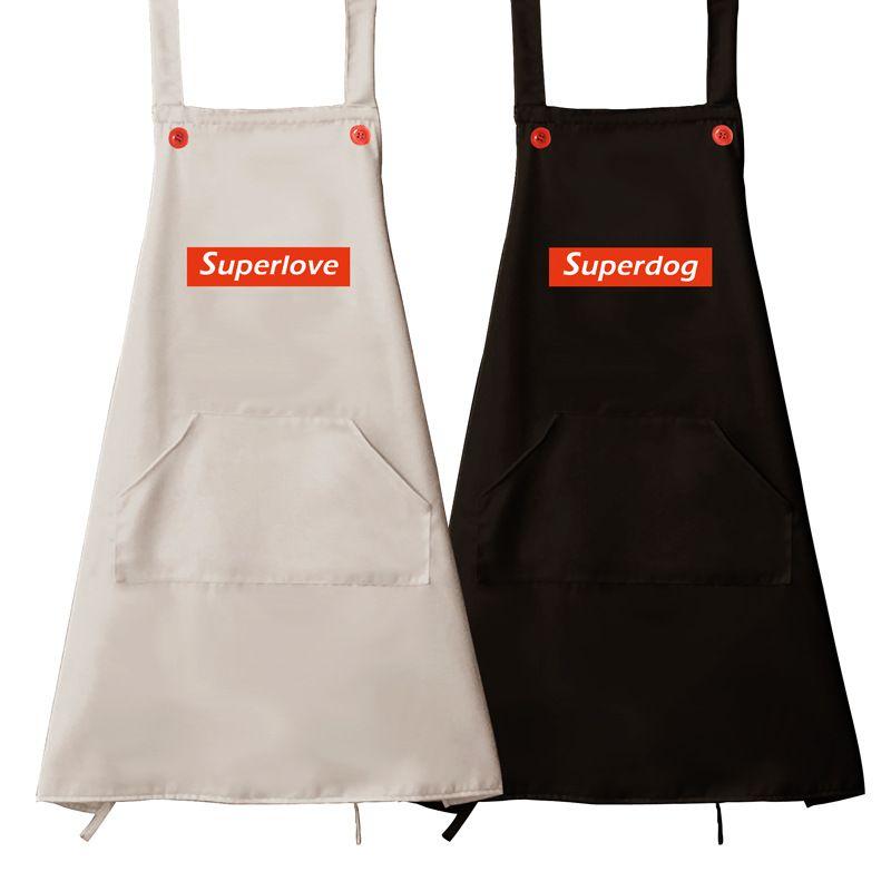 10Pcs / Lot 68cm * 74cm 방수 오일 - 증거 폴리 에스터 주방 앞치마 가정 요리 베이킹 앞치마 레스토랑 여자 남자 민소매 앞치마