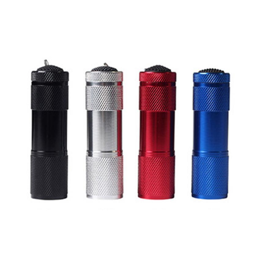 Алюминиевый сплав портативный УФ-фонарик фиолетовый свет 9 LED 30LM Факел свет лампы мини-фонарик 4 цвета ZZA416-1