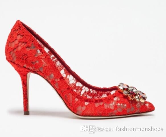 Алмазные шипованные прозрачные туфли на высоком каблуке заостренный носок туфли на шпильке невесты свадебные туфли кружева высокие каблуки черный красный белый желтый