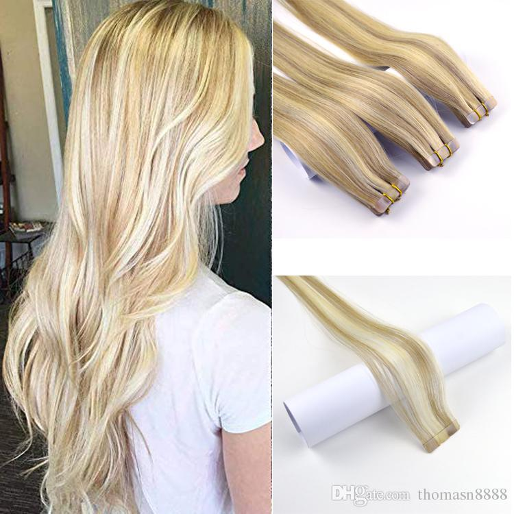 Remy Straight Two Tone Tape in Hair Extensions Human Hair Dark Ash Blonde Highlighted with Golden Blonde Piano Color Human Hair Extensions