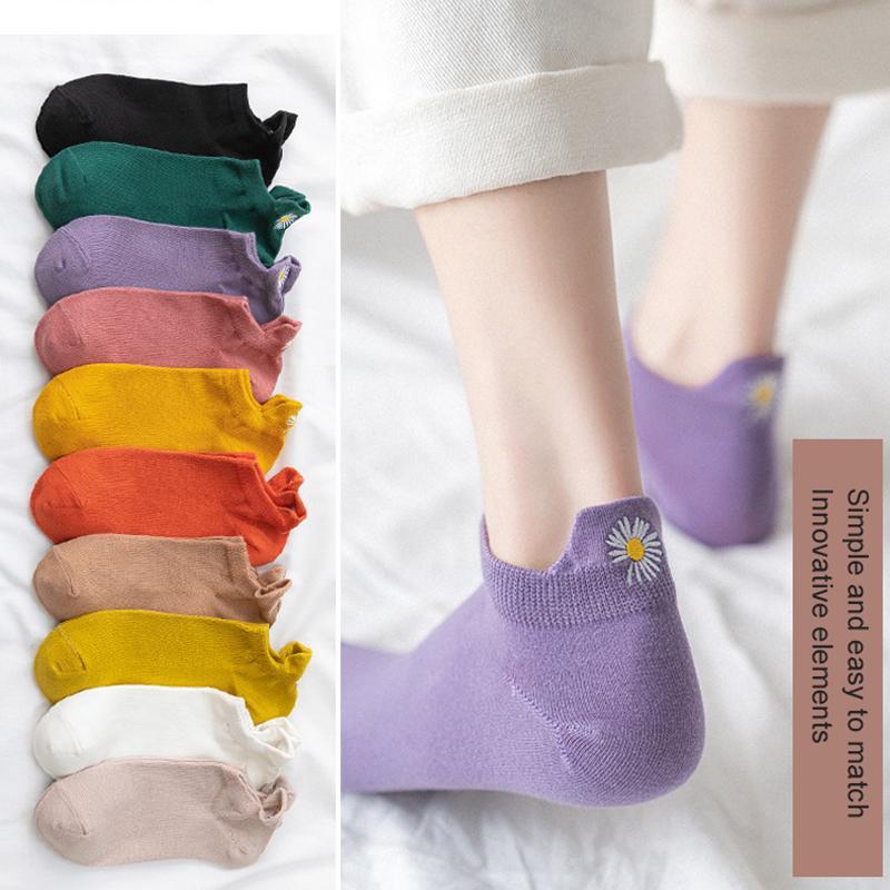 5 Çiftleri / pack Kawaii Nakış Papatya Kadınlar Çorap Pamuk Çok renkli Kasımpatı Retro Renk Bilek Çorap Kadınlar Dropship